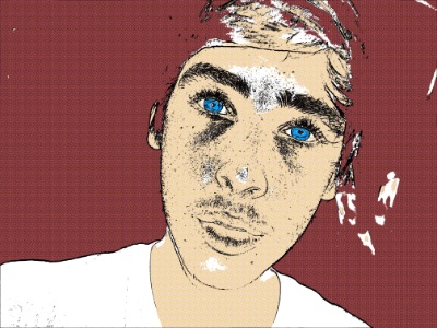 Comic Book Blue-Eyed Hero