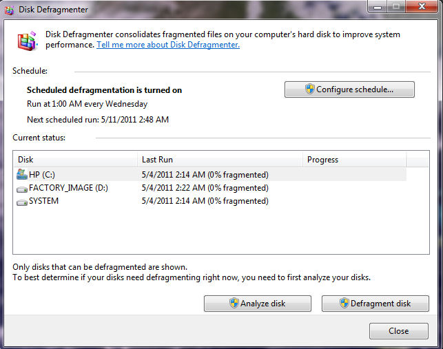 Windows 7 and Vista Automatically Defragment Hard Drives