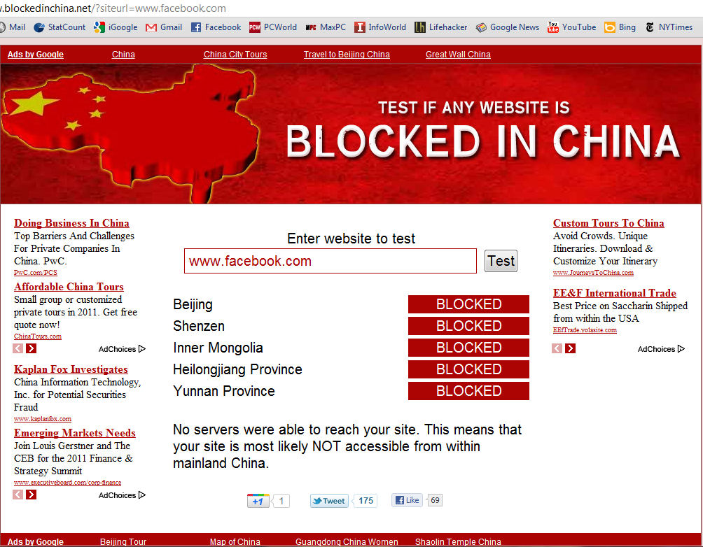 Facebook Is Not The Only Website Being Blocked In China