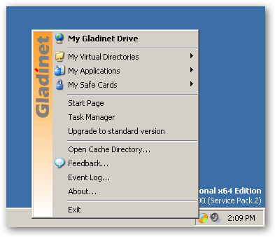 Gladinet links to all of Your Backup Files On-line for Free
