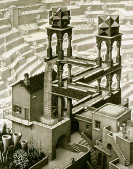 M. C. Escher Ascending and Descending